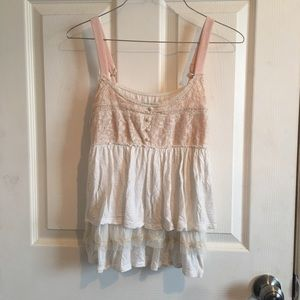 American eagle white with lace babydoll tank